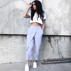 Add color - cool pants and crop tops today @dollygirlfashion
