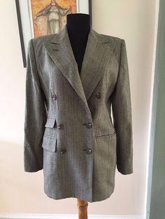 Ralph Lauren Houndstooth Plaid 100% Wool Woolmark Blazer Jacket sz 6 Made in USA #RalphLauren #Blazer