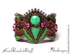 Arabesque - вышитый браслет - фуксия,зеленый,вышитый браслет,хризопраз
