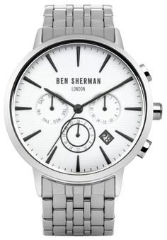 Ben Sherman 41mm Matte White ROUND Dial Watch with Polished Case | Silver Strap