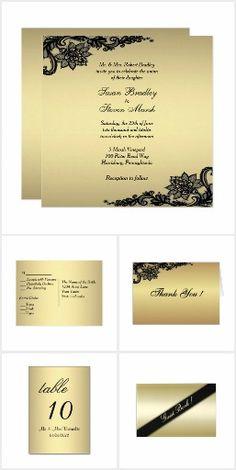 Gold Wedding Invitation Suite 50% Off #leatherwooddesign #zazzle