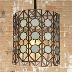 "Antiqued Mirror Hex Lantern - pair with a vinage ""filament"" Edison bulb"