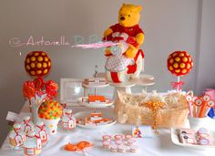 Detalles especiales para un bautismo con detalles de Winnie the Pooh. Party ideas, candy bar. table dessert. http://antonelladipietro.com.ar/blog/2012/12/fiesta-winnie-poo/