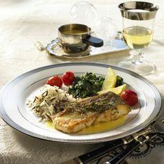 Zanderfilet mit Weißwein-Buttersoße zu Spinat und Reis Rezept