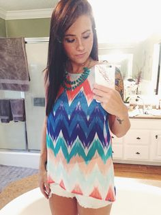 Olive & Oak | Arynn Tie-Back Chevron Print Tank and Zad Melody teardrop layered necklace in turquoise- want both!!!!!