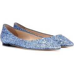 956f652ef98 Jimmy Choo Romy Flat Glitter Ballerinas (6.343.400 IDR) ❤ liked on Polyvore  featuring shoes