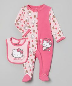 Take a look at this Pink Two-Tone Hello Kitty Footie & Bib - Infant by Hello Kitty on #zulily today!