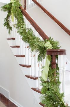 Christmas house tour with fresh garland on stairs