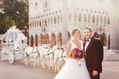 Disney Fairy Tale Wedding ceremony in Epcot's Italy Pavilion with Cinderella's Carriage