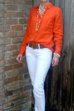 white skirt, orange V neck tee, orange cardigan, pearl necklace and earrings, Dad's gold watch Casual Work Outfits, Mode Outfits, Work Casual, Casual Chic, Casual Looks, Summer Outfits, 70s Fashion, Work Fashion, Fashion Outfits