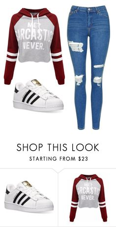 """Untitled #505"" by cuteskyiscute ❤ liked on Polyvore featuring adidas, WithChic and Topshop"