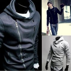 Mens Slim Designed Fit Zip Up Hoodies Jackets Coats Tops