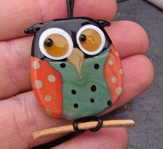glass, bead, lampworking,  Owl, Pendant  by AnnesGlassJewels