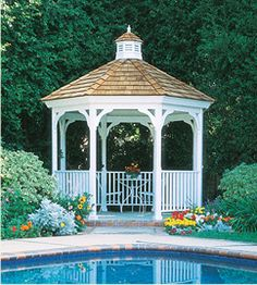 Nice, small, simple, corner gazebo! But I'm not sure about white...I guess it depends what my yard looks like!