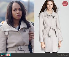 Olivia's belted coat on Scandal.  Outfit Details: http://wornontv.net/45985/ #Scandal