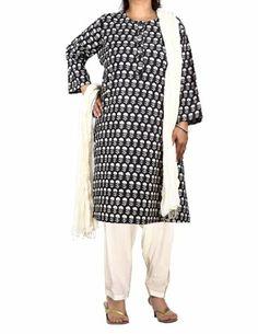 Black Kameez Off-White Salwar Dupatta Indian Clothing For Women Size L