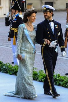 Queen Silvia and Prince Carl Philip attend the wedding of Princess Madeleine at the Royal Palace in Stockholm, Sweden.