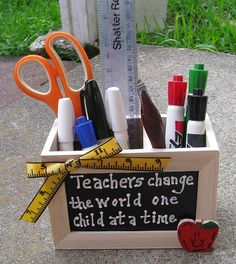 Teacher GIft  2708D Teacher Change Supply Box by NannieandBCrafts