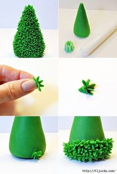 tutorial for making miniature bushes or trees with polymer clay. Polymer Clay Miniatures, Polymer Clay Projects, Polymer Clay Art, Diy Xmas, Christmas Crafts, Fondant Tree, Christmas Cake Decorations, Polymer Clay Christmas, Fondant Tutorial