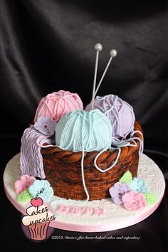 Knitting basket cake  This is such a neat idea for a cake!