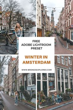 """Did your photos turn out dark, grey or boring? And are you looking to spice up your pics up with a subtle winter vibe? Then use the free Adobe Lightroom preset """"Winter in Amsterdam"""". Amsterdam Itinerary, Amsterdam Travel, Amsterdam Winter, Travel Blog, Explore Travel, Adobe, Travel Photography, Photography Filters, Photoshop Photography"""