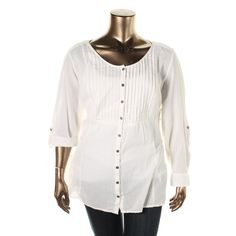 Style & Co. Womens Plus Crinkled Button Down Blouse