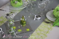 D co de table vert anis et lilas i d coration table vert for Centre de table vert anis