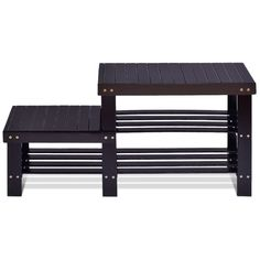 2-Tier Bamboo Shoe Bench Boot Storage Rack $37.95 + Free Shipping This shoe rack bench with high quality is black which has an innovative design. It has two connected benches with different heights.