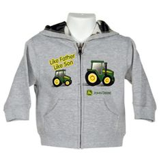 """LIKE FAHTER LIKE SON"" #JohnDeere Toddler Grey Fleece Hoodie, $22-$24"