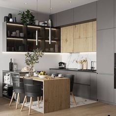 Discover recipes, home ideas, style inspiration and other ideas to try. Kitchen Room Design, Kitchen Cabinet Design, Modern Kitchen Design, Home Decor Kitchen, Interior Design Kitchen, Home Kitchens, Small Modern Kitchens, Small Apartment Kitchen, Apartment Interior