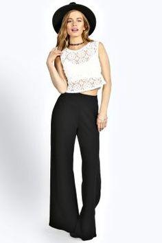 Petite Laura Crepe Flared Trousers at boohoo.com
