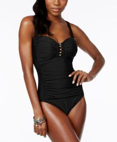 b11916aed8592 Miraclesuit Pin Point Saxon Sweetheart One-Piece Swimsuit & Reviews -  Swimwear - Women - Macy's