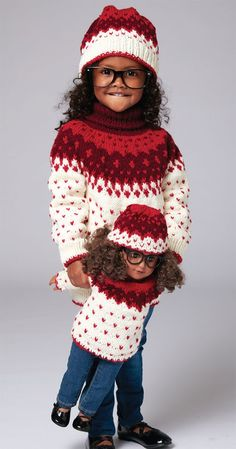 Fashionable sweater and hat set to fit child sizes 2, 4 or 6. Includes yarn and pattern to make a matching set for an 18