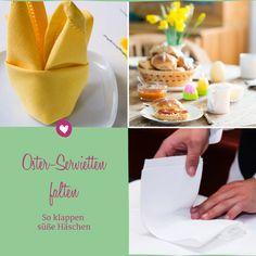 Ostern decken wir gerne die Oster-Tafel. Wir zeigen Ihnen, wie Sie Servietten zu Häschen falten können. Napkins, Tableware, Diy, Cute Bunny, Folding Napkins, Diy Home Crafts, Ceilings, Easter Activities, Dekoration