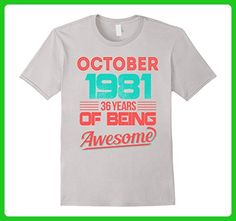 Mens October 1981 36th Birthday Gifts 36 yrs old Bday T-shirt Large Silver - Birthday shirts (*Amazon Partner-Link)
