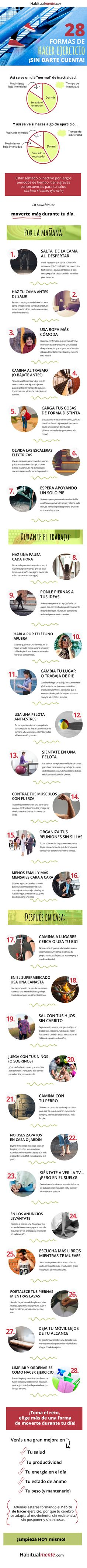 #Infografia 28 formas de hacer ejercicio sin darte cuenta vía @taniahabitos