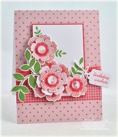 Paper Flower - 3D - Hand made card. Love the pink on pink.