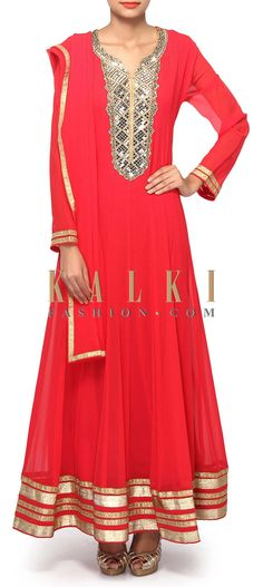 Buy Online from the link below. We ship worldwide (Free Shipping over US$100). Product SKU - 307704.Product Link - http://www.kalkifashion.com/coral-anarkali-suit-adorn-in-mirror-embroidery-only-on-kalki.html