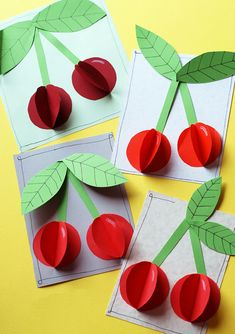 "The post Paper Cherries"" appeared first on Pink Unicorn activities Older Kids Crafts, Summer Crafts, Preschool Crafts, Diy And Crafts, Craft Projects, Arts And Crafts, Paper Crafts, Craft Kids, Paper Tree"