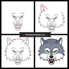 Learn how to draw a Cartoon Wolf Head with this how-to video and step-by-step drawing instructions. Drawing Cartoon Characters, Character Drawing, Comic Character, Cartoon Drawings, Animal Drawings, Cartoon Wolf, Cartoon Gifs, Classroom Games, Step By Step Drawing