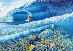 Kelly Slater at Teahupoo by Phil Roberts ~ surf art
