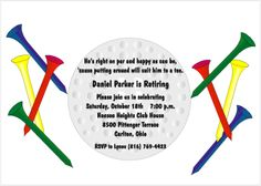 Image detail for -retirement party invitations with a golf ball and tees
