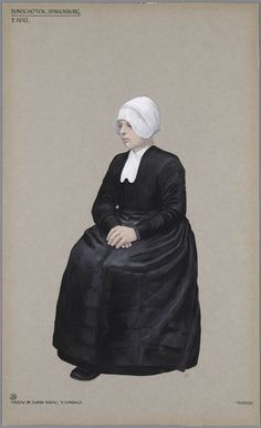Bunschoten-Spakenburg, Ca. 1910. Woman in the first stage of mourning, sunday. Drawing by Jan Duyvetter.