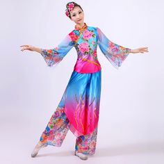 0bdf54e61 customize woman peony Embroidery Chinese classical dance clothes  yangko/umbrella/drum/folk dance costumes for stage performance