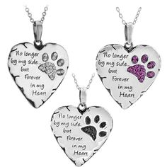 Paw Prints Forever in My Heart Necklace & Pendant Pet Cat Dog Lover Dog Necklace, Heart Pendant Necklace, Pet Cremation, Cremation Jewelry, Animal Rescue Site, Cat Dog, Sympathy Gifts, Sympathy Cards, Memorial Jewelry