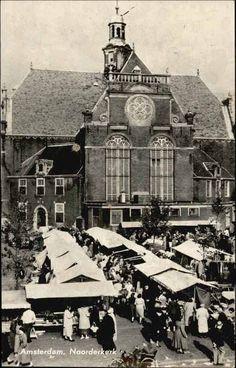 Amsterdam, jaren 50, Noorderkerk op de Noordermarkt in de Jordaan