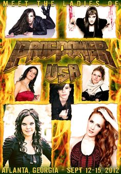 Ladies of ProgPower USA. Beginning at the top-left and then clockwise:    Elize Ryd, Amaranthe;  Floor Jansen, guest vocalist for MaYaN;  Dilenya Mar, Beyond the Bridge;  Simone Simons, Epica;  Anette Olzon, Nightwish;  Laura Macri, guest vocalist for MaYaN;  and in the middle, Clementine Delauney, guest vocalist for Serenity.    Design by Waenelin Designs