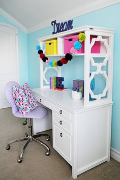 Interior Design: Tween Girl Bedroom Design Purple and Turquoise - Pink Peppermint Design