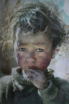 Artist: Liu Yun Sheng, watercolor {contemporary realism art child head face portrait painting #loveart}