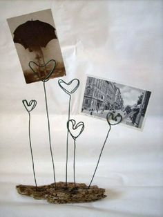 Driftwood base with five wire heart shaped clips for displaying photos, postcards, notes, etc